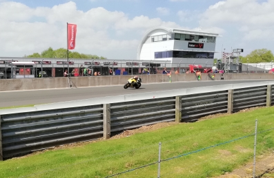 Oulton park action shot of passing motorbike